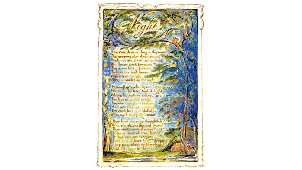 Writen copy of the poem Night on an illustrated background of a night sky surrounded by trees